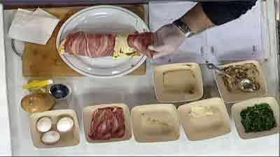 رولت املت مرغ و گوشت با سبزیجات