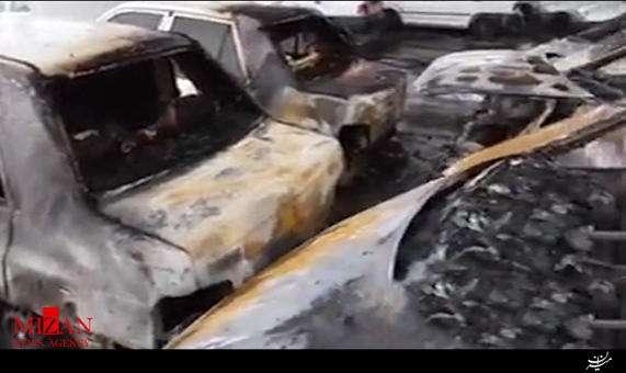 سوختن 10 خودرو در پارکینگی در حاشیه شهر مشهد