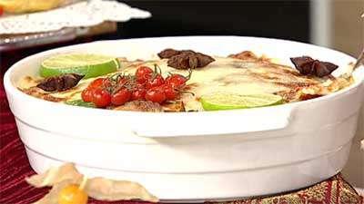 خوراک مرغ و بادمجان مدرن