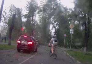 سقوط درختان بر روی خودروها به خاطر طوفان شدید
