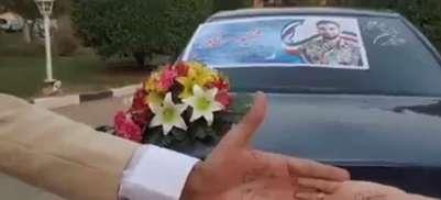 گفتگو با عروس و دامادی که روی ماشین عروس خود عکس شهید حججی را نصب کردند