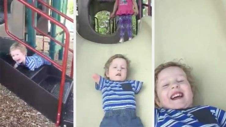 تلاش حیرتانگیز کودک معلول برای بالا رفتن از سرسره