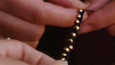 دستبند بافت سه تایی با تزیین مروارید