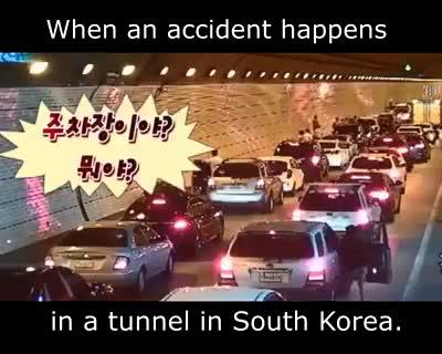 بعد از تصادف در تونل 👌👌👌     کره جنوبی