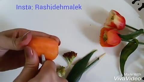 آموزش گل لاله با هویج