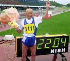 مرد 95 ساله ژاپنی رکورد دو صدمتر پیرمردها را شکست