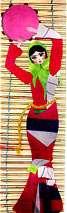 زن ایرانی سبد به سر و هیزم به سر ( تابلوی كلاژ)