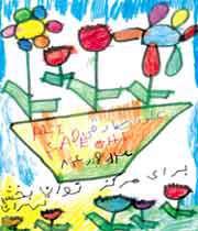 خانه ، درخت ، خورشید ، در نقاشی کودک