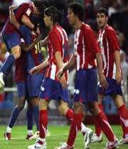 شادی بازیکنان  بارسلونا پس به ثمر رسیدن گل