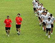 تمرینات تیم ملی در شرایط آب و هوایی نامناسب