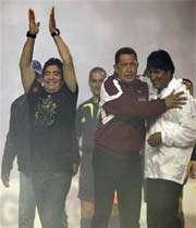 آغاز کوپا آمه ریکا با حضور مارادونا و روسای جمهوری ونزوئلا و بولیوی