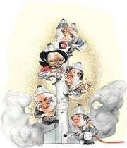 caricature montrant l'aventurisme nucléaire de l'administration néo conservatrice américaine