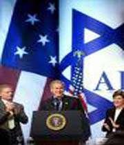 bush rendant visite à au lobby sioniste en territoire américain (aipac)