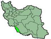 cette carte montre la position de la province de bushehr