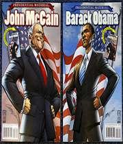 بازار داغ انتخاباتي آمريكا، ناشارن را واداشت تا اوباما و مك كين، دو سناتور رقيب براي كسب عنوان رياست جمهوري آمريكا را به دنياي كميكبوك هم بكشانند.