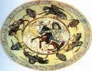 plat en céramique, rey, xiie s. musée national de l'iran, téhéran