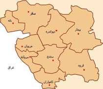 نقشه استان کردستان