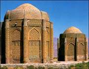 kharaghan twin towers in qazvin