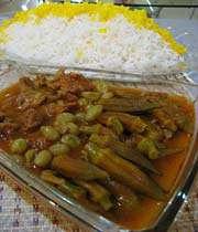 khoresht baamieh with rice