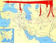 راهنمای نقشه مسیر مهاجرت آریائی ها (نقشه اول)