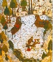 combat entre homay et homayun. <br>divan de khaju kermani, bagdad, 1396.
