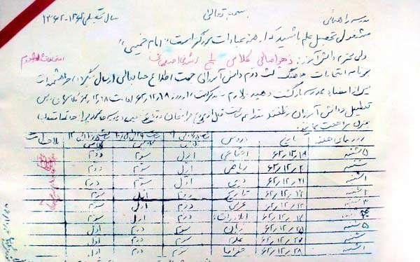 شهیدی که کارنامه دخترش را امضا کرد