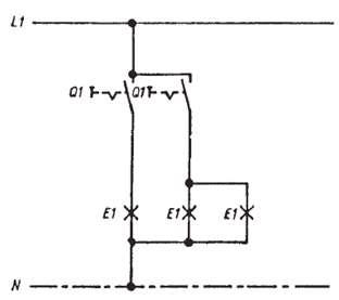 مدار الکتریکی کلید دو پل