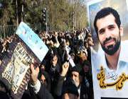 iranian demonstrators condemn western countries for assassination of iranian nuclear scientist mostafa ahmadi roshan during his funeral in tehran