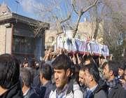 تشیع جنازه جانباز شهید حاج مرتضی یوسفی و حضور دانش آموزان دبیرستان دخترانه امین دهنو
