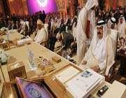 qatars emir hamad bin khalifa al thani (r) attends the opening of the arab league summit in doha on march 26, 2013.