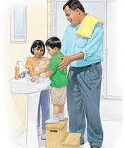 شستن دست ها با آب و صابون