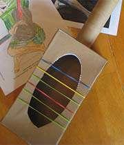 نقاشی ساده با مداد شمعی گیتار با جعبه دستمال کاغذی