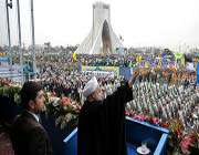president rouhani addressing people in tehrans azadi (freedom) square