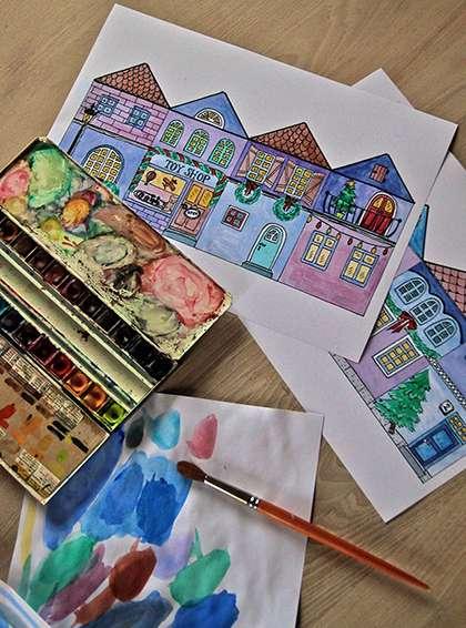 یک شهر فانوسی با نقاشی بسازید