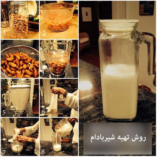 مراحل تهیه شیربادام